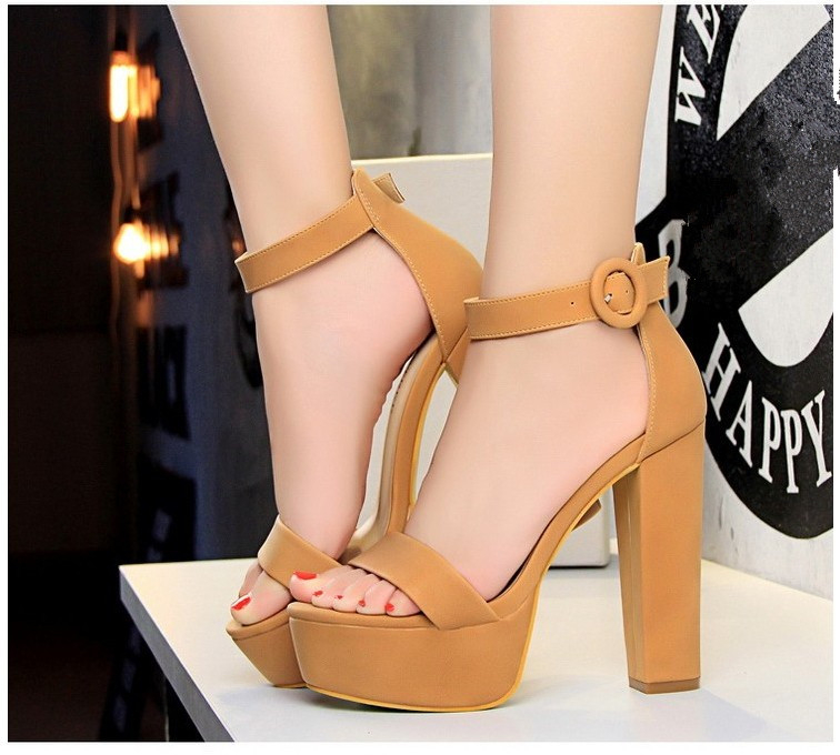 HTB1VyA8X7fb uJkSne1q6zE4XXaQ Brand Elegant sandals Women High Heels Pumps Super high heel 13cm Women's Banquet sandals waterproof platform toe sandals