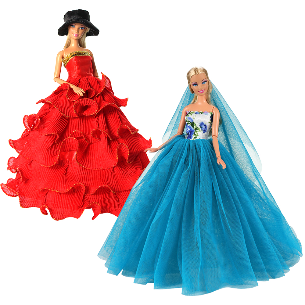 New Arrive Fashion Handmade Party Princess Doll Dress Accessories Clothes Object For Barbies Game DIY Birthday Present Kids Toys