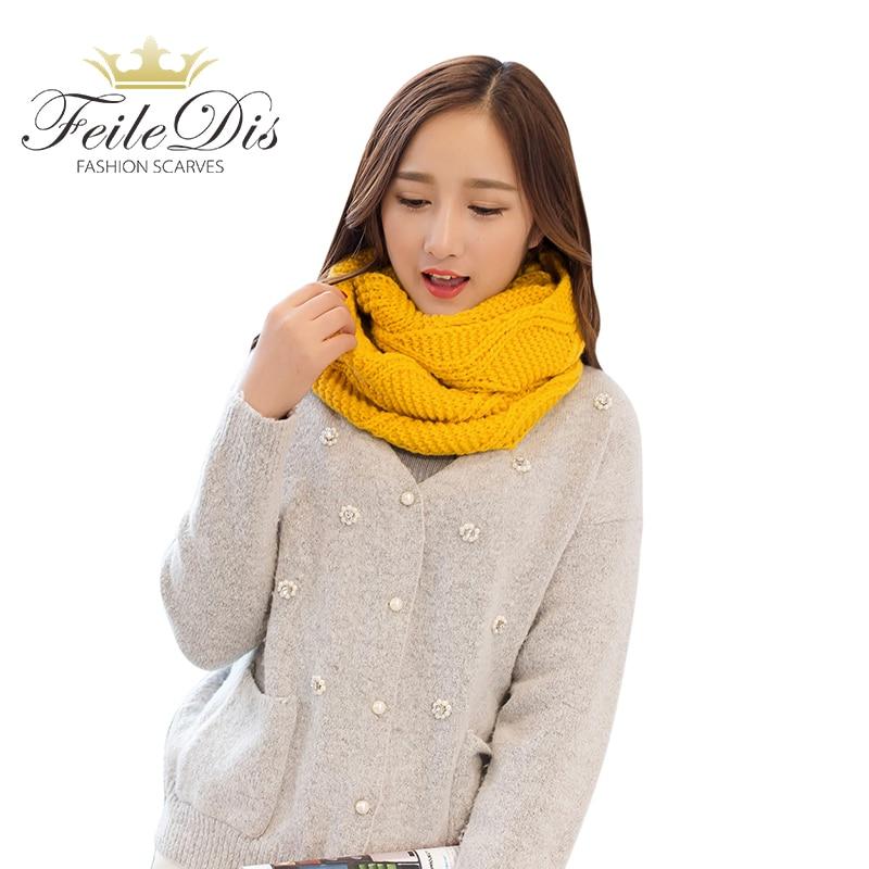 898bd40b [FEILEDIS] bufanda de tubo para mujeres invierno cálido bufandas de punto  Collar sarga anillo ...