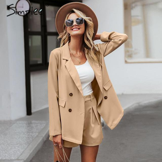 Simplee Chic long sleeve women blazer Double breasted office ladies blazer coat Casual streetwear female outwear tops coat 2019