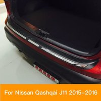 For Nissan Qashqai J11 Rear Bumper Protector Tail gate Trunk Door Sill Guard Scuff Cover Trim 2015 2017 Car Styling Accessories