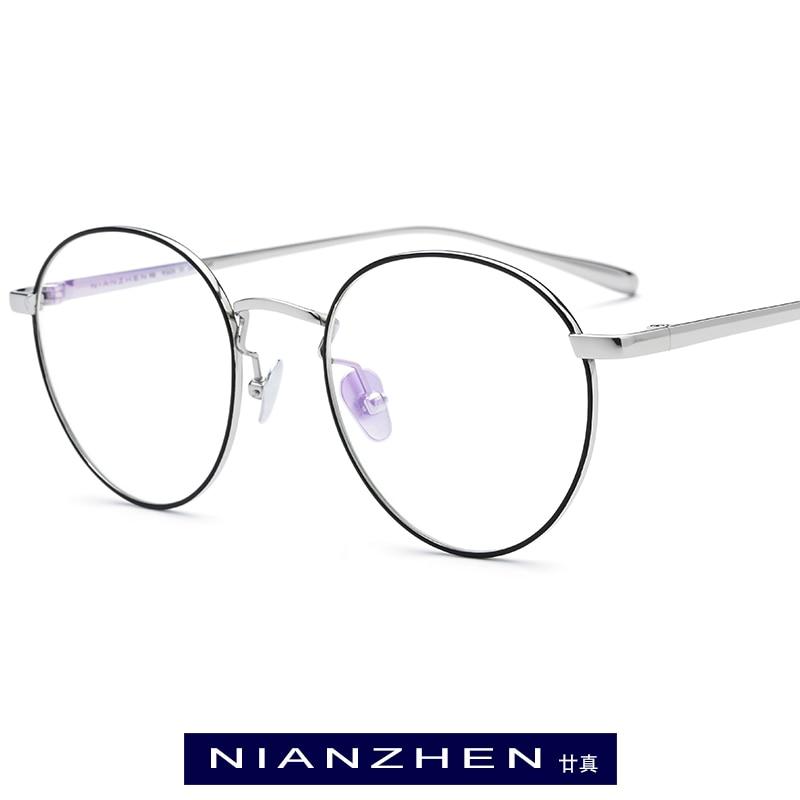 Titane pur lunettes cadre hommes Vintage rond myopie optique Prescription lunettes 2019 femmes femme rétro ovale corée lunettes