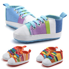 Classic New born Baby Boys Shoes Infants Rainbow Children Canvas Girls Booties Firstwalker Sport Sneakers Soft Bottom Bebe Boots(China)
