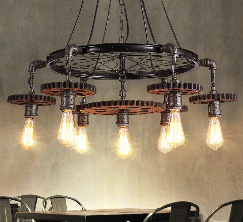 Loft creative theme restaurant cafe bar gear chandelier personality lamps American industrial wind Iron Chandelier creative chandelier cafe bar bar restaurant lounge ktv single headed personality retro bottle decorative lamps