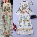 2016 Women's Spring Fashion Embroidered Rhinestones Long Sleeve Vintage Maxi Long Dress Large Size XXL Retro Dresses