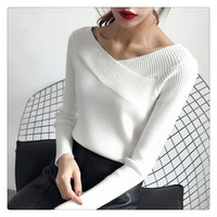 Carol Diaries 2018 Sexy Pullovers Sweater Women Autumn Winter Retro Long Sleeve Jumper Elegant Slim V