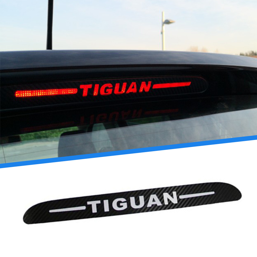 Carbon Fiber Brake Light Decoration Sticker For Volkswagen <font><b>Tiguan</b></font> 2010 2011 2012 Brake Lights Cover For VW <font><b>Tiguan</b></font> <font><b>2013</b></font> 2014-2017 image