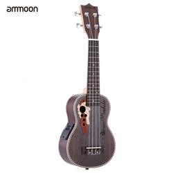 """Ammoon 높은 품질의 가문비 우쿨렐레 21 """"어쿠스틱 Ukelele Uke 4 문자열 하와이 기타 Guitarra 악기 내장 EQ 픽업"""