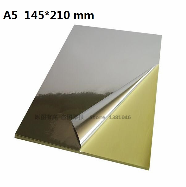 5 To 30 Sheets A5 Plain Glossy Silver Self Adhesive Vinyl Film Label Sticker For Laser Printer 145*210mm 5sheets pack 10cm x 5cm holographic adhesive film fly tying laser rainbow materials sticker film flash tape for fly lure fishing