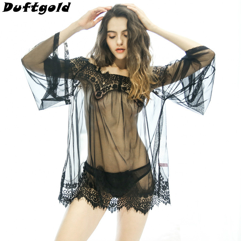 New Popular Novelty Girl Sexy Tape Lace Sleep Clothing Women White Black Beautiful Dress Dance Wear Female Costumes Duftgold
