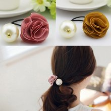 Best Goods Pearl Hair Band Fashion Stacked Rose High Wild Ms. High Quality Red Cloth Flower Headwear Hairband Solid Black(China)
