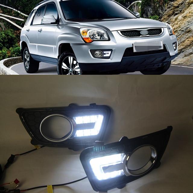 Car Flashing 1 set For KIA Sportage 2008 2009 2010 2011 2012 2013 12V LED DRL Daytime Running Light Daylight Fog lamp head light