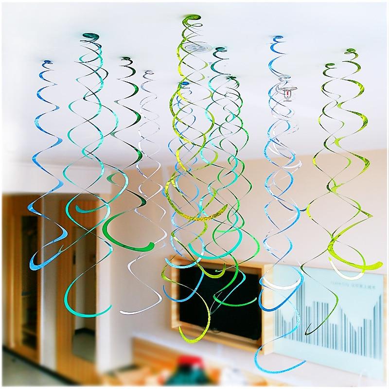 Zilue 6pcs/pack Multi Colored Mirror Revolving Laser PVC Ornaments Decor 55-75cm Garden Birthday Wedding Party Nursery Shower