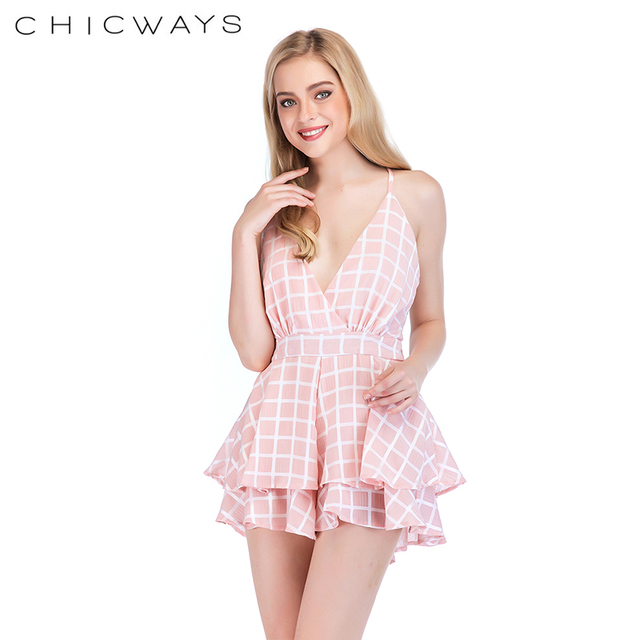 5697783d6a33 Chicways Summer Sexy Crisscross Belted Back Cut Out Bow Sleeveless V Neck  Plaid Backless Casual Short