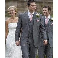 Костюмы для жениха свадебный костюм Для мужчин Жених Смокинги для женихов Best мужской костюм Свадебный дружки Для мужчин темно Серый цвет (к