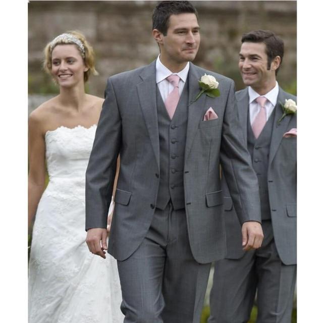 Groom Wear Wedding Suit Men Tuxedos Best Groomsman Dark Gray Color