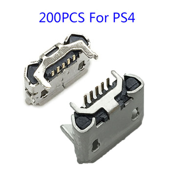 200PCS Micro 5Pin Usb Power Charger Socket Connector For Playstation PS4 Data Charging Port