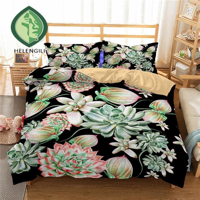 HELENGILI 3D Bedding Set Tropical plants Print Duvet cover set lifelike bedclothes with pillowcase bed set home Textiles #RD-10