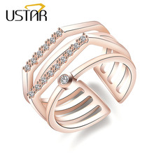 USTAR Multi-layer Geometric Crystals wedding Rings for women finger midi Engagement rings Jewelry Opening adjustable size gifts
