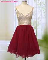 New Arrival Burgundy Short Cocktail Dress 2018 Sparking Beaded Spaghetti Straps Backless Knee Length Tulle Woman Party Gown Dres