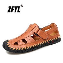 ZFTL New Men Sandals genuine leather man Roman sandals large size casual outdoor beach handmade male leisure 62