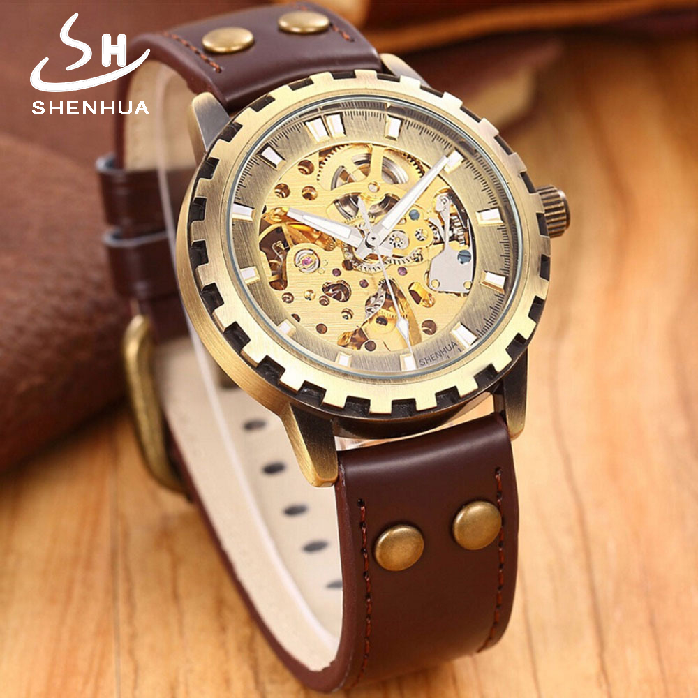 SHENHUA Steampunk Automatic Men Skeleton Watch Self Winding Pu Leather Watches Men's Mechanical Wristwatches horloges mannen vintage watch steampunk men skeleton mechanical fob pocket watch clock pendant hand winding men women chain with gift box