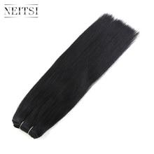 """Neitsi прямо бразильский Реми Пряди человеческих волос для наращивания 14 """"35 см 110 г/шт. 1 # Jet Black 1B # натуральный черный двойной обращается волосы утка"""