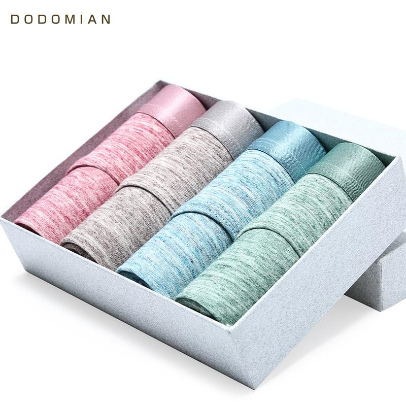 Brand 4pcs\lot Sexy Men Briefs Cotton Shorts Underpants DODOMIAN Fashionable Light-Colored Male Underwear Plus Size L-4XL