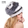 YCFUR Winter Hats Women 6 Colors Real Rex Rabbit Fur Caps With Fox Fur Trims Flowers Fur Beanies Hats Winter YH197