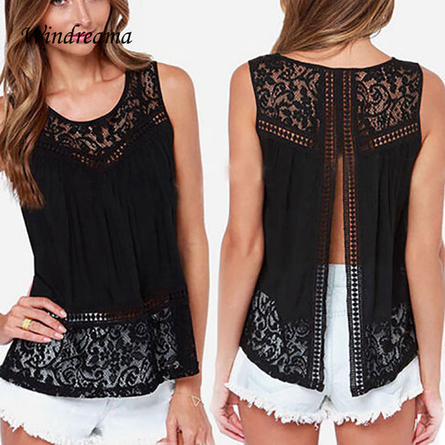 Plus Size S - 5XL Fashion Women Lace Tank Top Casual Sleeveless Hollow Out Back Open Tops Women Summer Style Tees