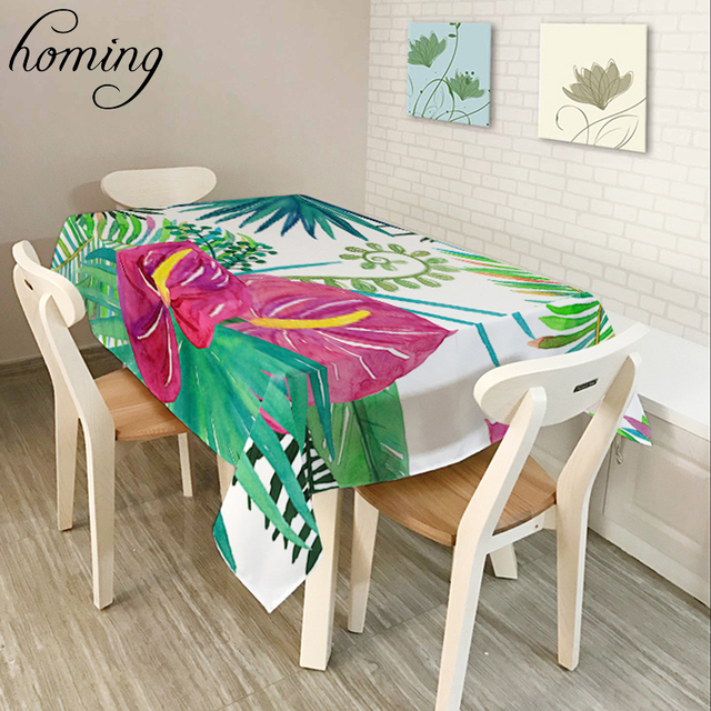 Homing Rectangle Oil Proof Decoration Modern Dinning Table Cloth Summer  Tropical Palm Tree Pattern Dust