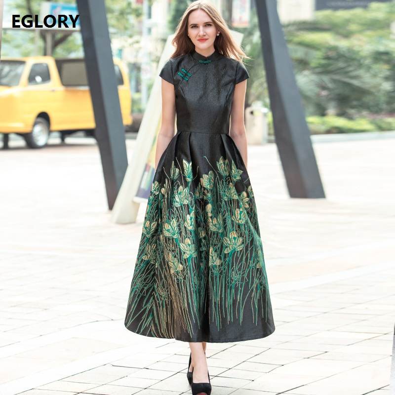 XXXL Women Clothing Plus Size Long Dress 2018 Spring Summer Vintage Qipao Style Slim Fit and Flare Elegant Maxi Dresses Party