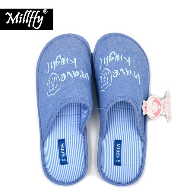 Millffy 2018 spring and summer minimalist cotton gilded indoor home slippers  cowboy couple fresh literary slippers ce3c6782542e