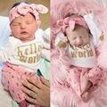 3 Unids Lindo Recién Nacido los Bebés Top Shirt Pantalones Largos Diadema Outfit Ropa