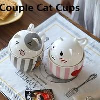新しい漫画セラミックマグコーヒー茶マグカップ350ミリリットルかわいい猫カップ素敵な蓋ボトル箸置きカップルカップクリエイティブギフ
