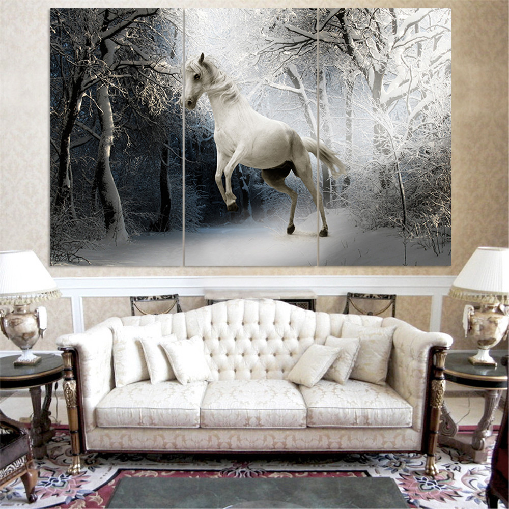 Unframed White Horse Painting Canvas Art Quadros Decoration Landscape Home Decor Wall Animal Oil Picture For Living Room 3pc