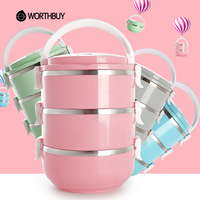 WORTHBUY Stainless Steel Japanese Lunch Box Food Containers Colorful Bento Box Portable For Kids Outdoor Camping