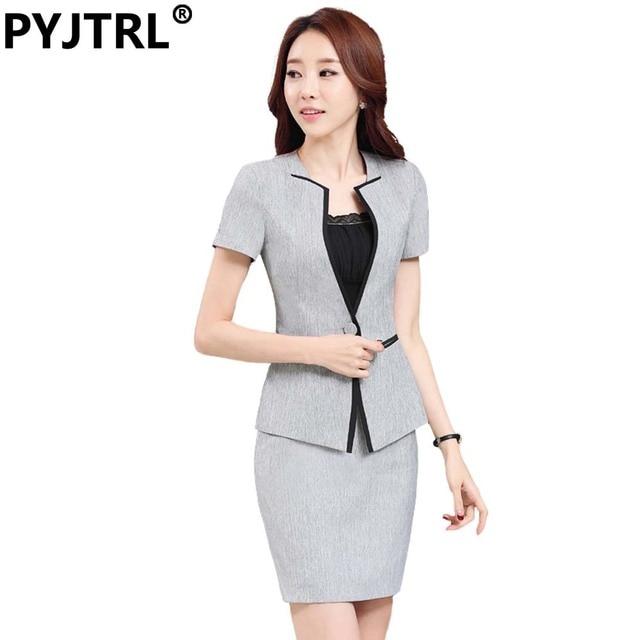d97d09a7e Jacket+Skirt) 4XL Women s Summer Gray Short Sleeve Hotel Reception ...