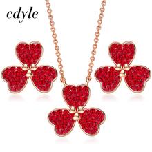 Cdyle kobiet złota biżuteria zestaw ozdobione kryształ zestaw biżuterii dla kobiet koniczyny urok naszyjnik zestaw kolczyków tanie tanio Miedzi Kobiety N1788A-S+E1889A-S Moda PLANT Śliczne Romantyczny Naszyjnik kolczyki Necklace Earrings Zestawy biżuterii