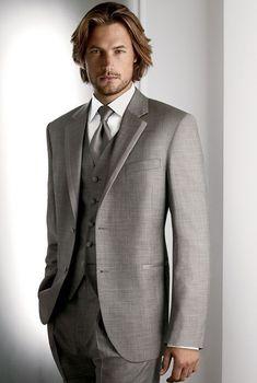 New Arrival Two Buttons Light Grey Groom Tuxedos Groomsmen Men's Wedding Prom Suits Custom Made (Jacket+Pants+Vest+Tie) K:199
