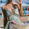 Everkaki Women Boho Floral Print Lace Up Pendant Bodysuit Sexy Spaghetti Strap Holiday Beach Female Short