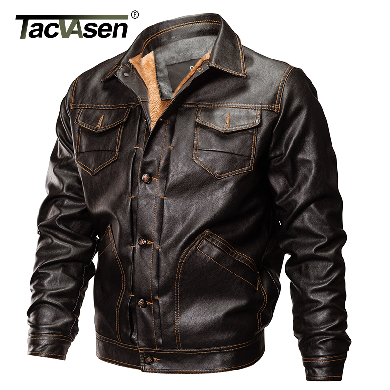 TACVASEN Thick Winter Men Tactical Leather Jacket Military Bomber Jacket Slim US Army Pilot Jacket Motorcycle Coat TD-QZQQ-010