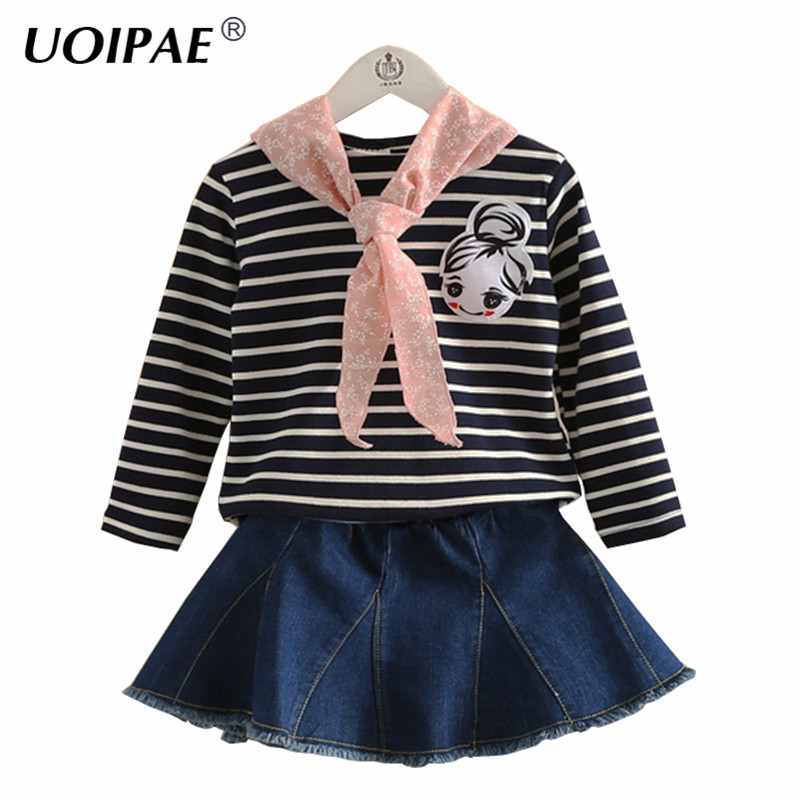Baby Clothing Set Girl New Autumn Casual Striped Girls Sets 2016 Long Sleeve Tops+Solid Denim Skirt Children Clothing 4153W 2017 new style spring autumn hoodie baby girl clothing set sequin lace long sleeve velour sports jacket long trousers outfits