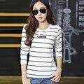 Женщины Топы 2016 Корейская Мода Одежда С Длинным Рукавом Футболка Женщины Полосатые Футболки JN332