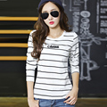 Women Tops 2016 Korean Fashion Clothing Long Sleeve Tshirt Women Striped T-shirts  JN332