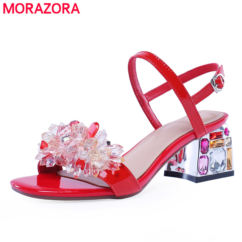 MORAZORA 2019 Genuine leather sandals women shoes buckle square crystal high heels party wedding shoes summer shoes rhinestoneMORAZORA 2019 Genuine leather sandals women shoes buckle square crystal high heels party wedding shoes summer shoes rhinestone