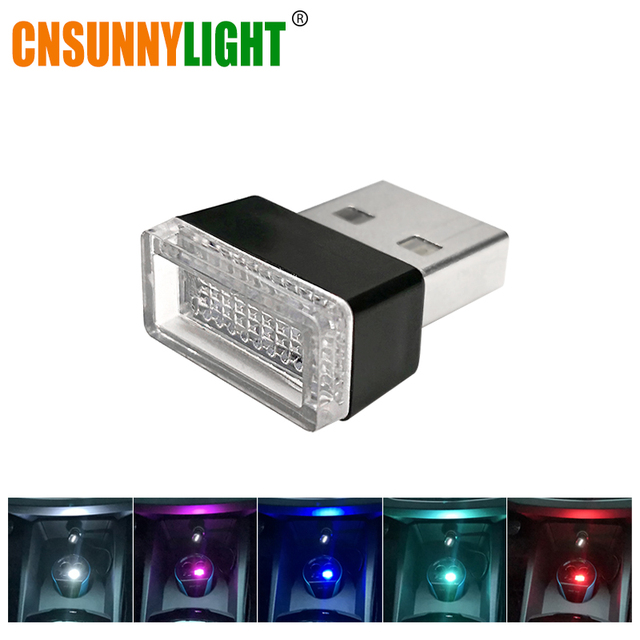 CNSUNNYLIGHT Car USB LED Atmosphere Lights Decorative Lamp Emergency Lighting Universal PC Portable Plug and Play Red/Blue/White
