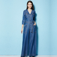 Denim Jumpsuits For Women 2018 Spring Elegant Jumpsuit Jeans Loose Wide Leg Party Long 100% Tencel Casual Romper Trousers Woman