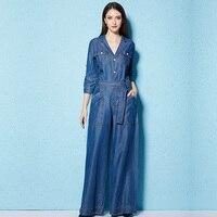 Denim Jumpsuits For Women 2018 Spring Elegant Jumpsuit Jeans Loose Wide Leg Party Long 100% Tencel Casual Romper Trousers Woman