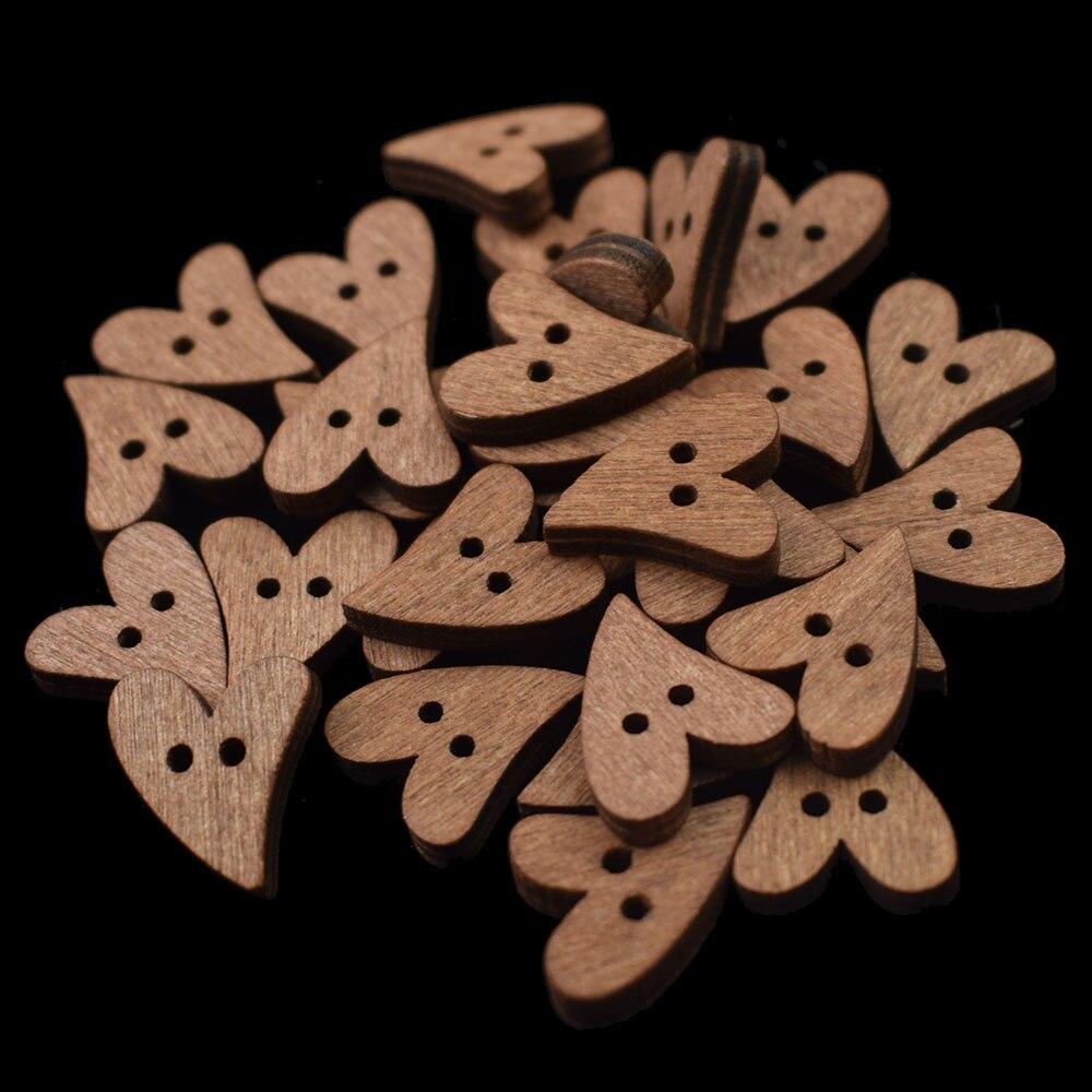 100 шт 20 мм деревянные пуговицы в форме сердца для шитья скрапбукинга DIY коричневая деревянная кнопка с 2 отверстиями для рукоделия аксессуары для скрапбукинга - Цвет: 100PCS
